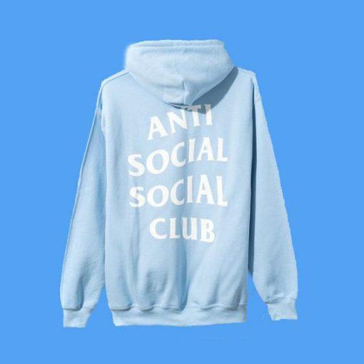 Anti Social Social Club Blue Hoodie Back