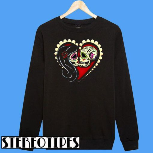 Ashes Dia de los Muertos Couple Day of the Dead Sugar Skull Lovers Sweatshirt