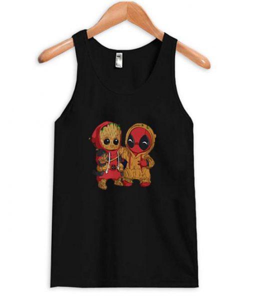 Deadpool And Baby Groot Tanktop