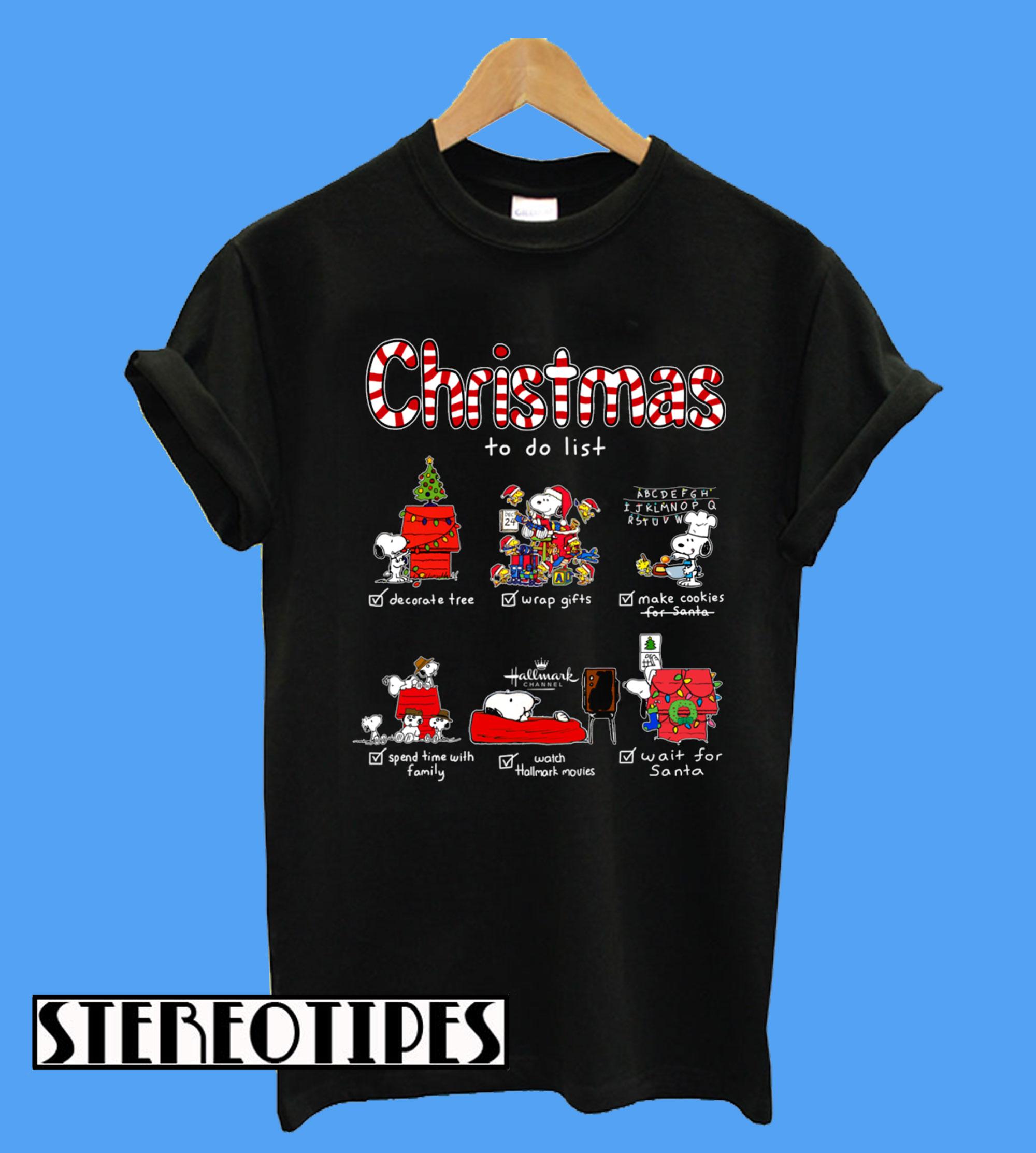 Hallmark Christmas T Shirt.Snoopy Christmas To Do List Hallmark Channel T Shirt