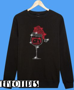 Xmas Wine Glass And Camping Sweatshirt