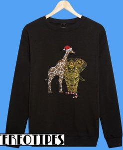 Adorable Gift For Christmas Eve Elephant Giraffe Sweatshirt