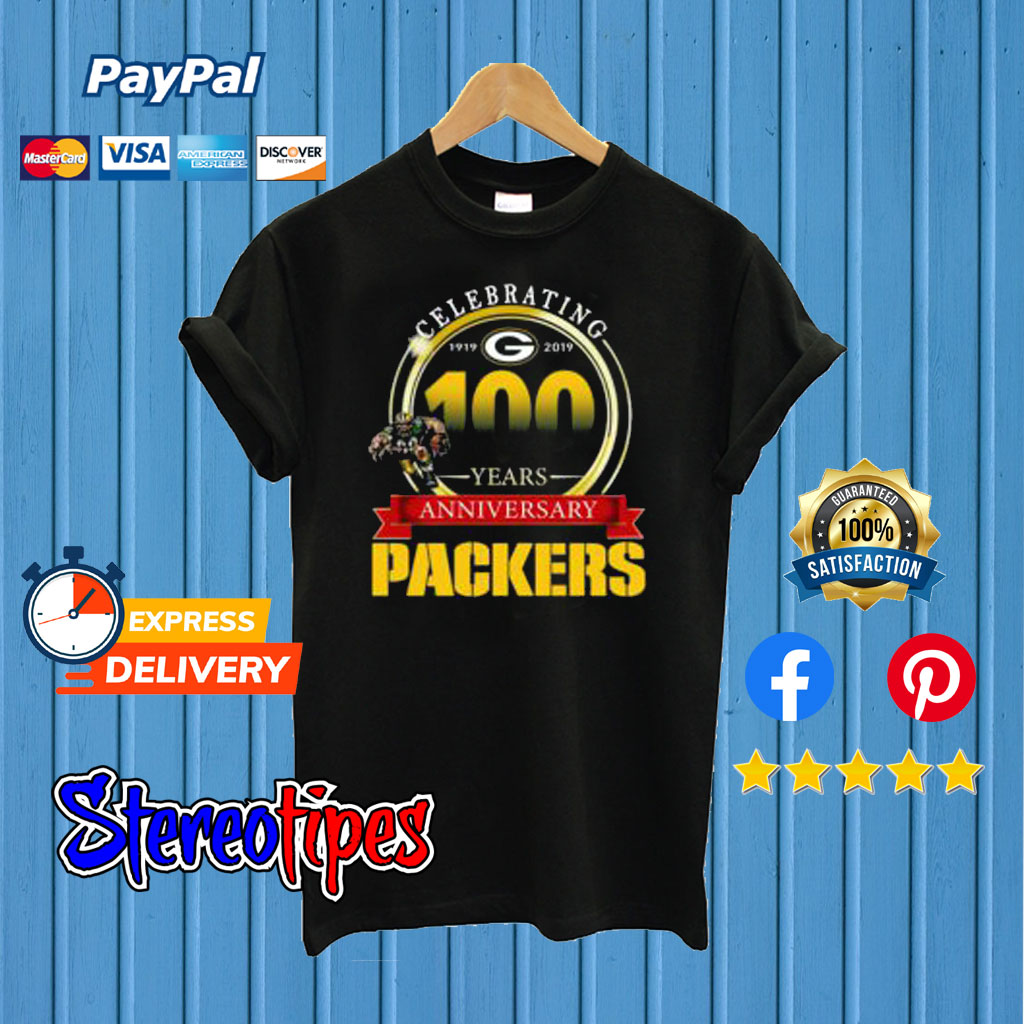 new product 98d15 a8e05 Celebrating 100 Years Anniversary Green Bay Packers T shirt