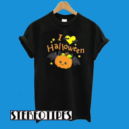 I Love Halloween- Cute Pumpkin Vampire T-Shirt