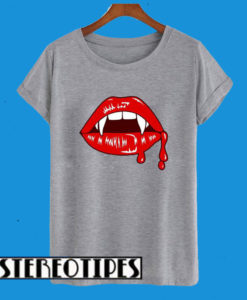 Vampire Lips Fangs Halloween Dripping Blood T-Shirt